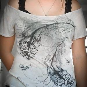 Light Beige Feather Tshirt